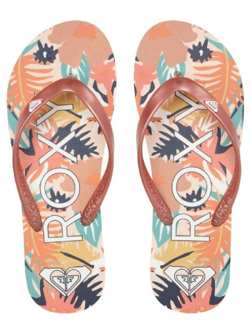 ROXY WOMENS FLIP FLOPS.TAHITI ROSE GOLD FLOWERED THONGS BEACH SURF SANDALS S20 9